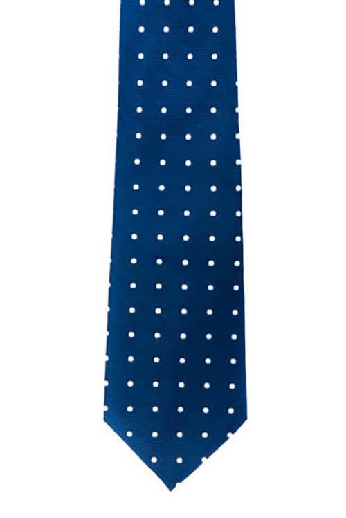 Blue w/ White Pokadot Tie