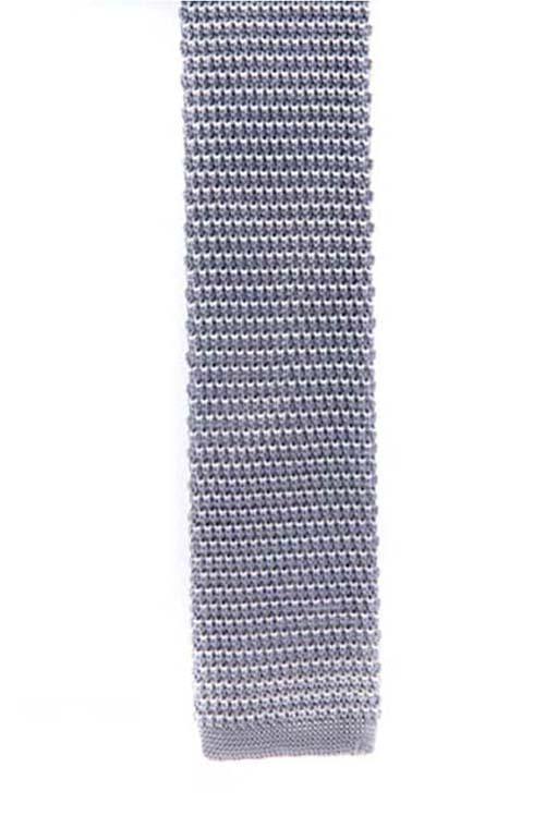 Silver Knit Pattern Tie