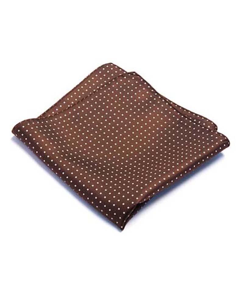 Brown Pindot Pocket Square