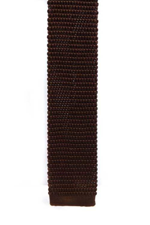 Brown Knit Pattern Tie