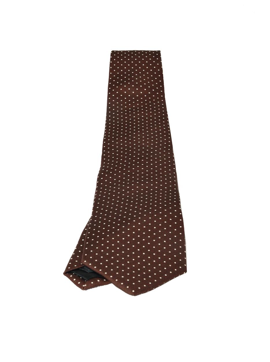 Brown & White Pin Dot Tie