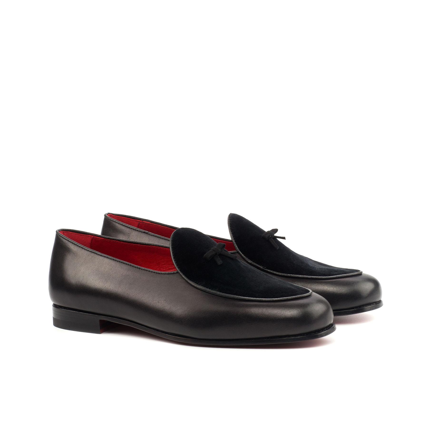 Black Leather & Velvet Loafer